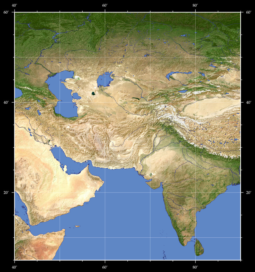 Topographic Map Asia.Views Of The Earth Map Based Browsing Central Asia