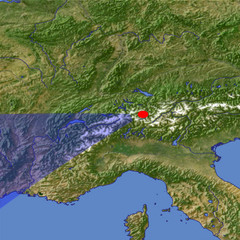 The upper Rhône River location map