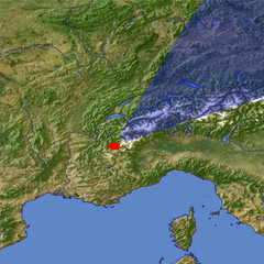 The western Alps location map