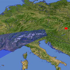 The Alps from East location map