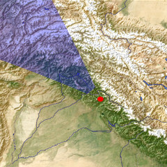 The Kashmir Valley from the east location map