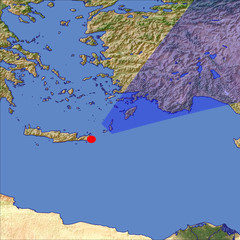 Karpathos and Rhodes location map