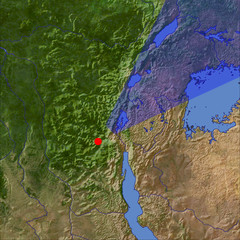 Lake Kivu and the Virunga volcanos location map