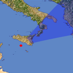 The Strait of Messina location map