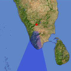 The south end of India location map