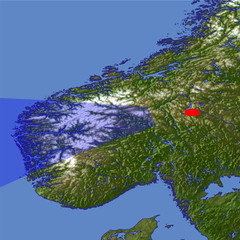 The Mountains and Fjords of southern Norway location map