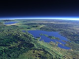 Lake Kivu and the Virunga volcanos